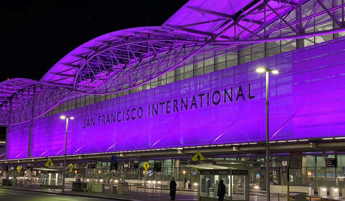 SF International Airport Facade with Purple light reflection