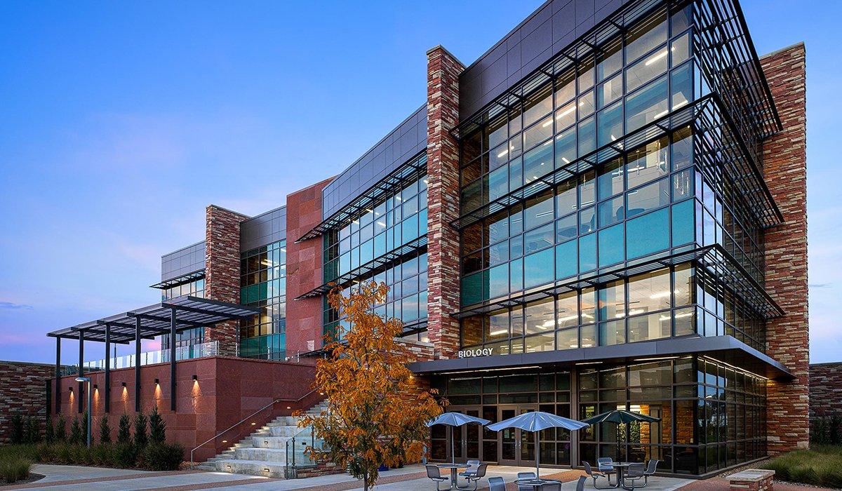 Biology Building at CSU at dusk